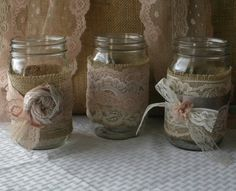 VINTAGE Lace candle votives jars for weddings by Bannerbanquet, $35.50
