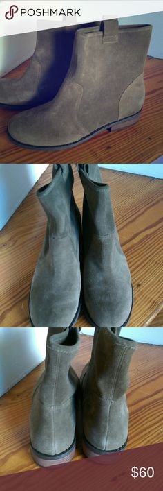 Sole Society Natasha boots Army green suede, but to me, it's almost more brown than green. Size 9.5. Worn 2 times. Great condition. These are usually sold out on their website. Sole Society Shoes Ankle Boots & Booties