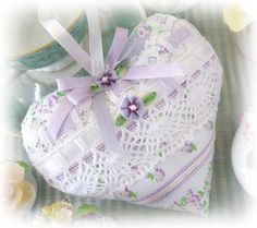 Heart Sachet Sachet Heart Lilac and Spring Green by CharlotteStyle, $13.00