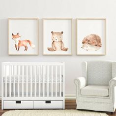 Check out our woodland nursery decor selection for the very best in unique or custom, handmade pieces from our wall décor shops. Baby Room Paintings, Woodland Nursery Prints, Nursery Wallpaper, Baby Art, Art Wall Kids, Nursery Room, Watercolor Print, Decoration, Free
