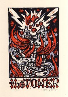 The Tower Linocut Tarot Card Art The Tower Tarot Card, Linocut Prints, Art Prints, Tarot Tattoo, Fortune Cards, Tarot Major Arcana, Tarot Decks, Tarot Cards, Fantasy Art