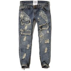 Abercrombie & Fitch One Teaspoon Freebirds Jeans ($150) ❤ liked on Polyvore featuring jeans, destroyed mediume wash, ripped boyfriend jeans, boyfriend jeans, destructed skinny jeans, rock and roll jeans and ankle zip skinny jeans
