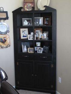 Black vintage corner cabinet. $275.00, via Etsy.