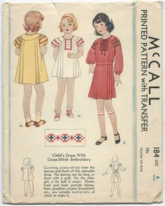 1930s Vintage Sewing Pattern McCall 184 Childs Pleated Dress Puff Sleeves Sz6