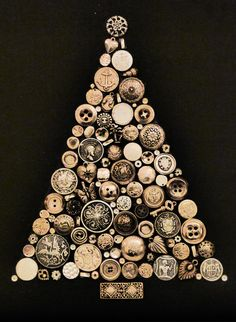 Silver Christmas tree on black canvas made from buttons and jewellery