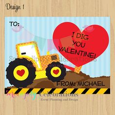 DIY Printable Favor Cards- Dump Truck Valentines Day Tags -Holiday Cards -School Treats -Holiday -Hearts -Construction