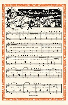 """megamadridista4life: """"The Adelaide Parade Music Sheet Music & lyrics by Patrick McHale and The Blasting Company. Larger resolution here. """""""