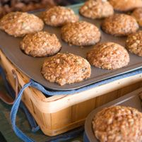 Carrot-Banana Muffins Ingredients 2 cups almond flour (also called almond meal) 2 teaspoons baking soda 1/2 teaspoon salt 1 tablespoon ground cinnamon 1/2 cup shredded unsweetened coconut  3 large eggs 3 bananas, mashed 1/2 cup (8 tablespoons) unsalted butter 2 tablespoons raw honey 1 teaspoon apple cider vinegar 1 1/4 cups pitted and chopped dates 2 medium carrots, shredded  3/4 chopped walnuts