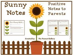 FREE- Make your student's day by sending home a positive Sunny Note to his/her parent or guardian! Two different sizes are included in two slightly different forms. Enjoy!