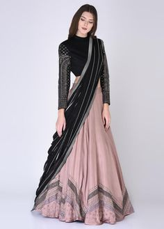 indian designer wear Editor's Note This set features a pink & black embroidered blouse, lehenga with dupatta & special finishing with embellished with mirror, dabka & sequence. Indian Fashion Dresses, Indian Bridal Outfits, Indian Gowns Dresses, Dress Indian Style, Indian Designer Outfits, Shadi Dresses, Blouse Lehenga, Lehnga Dress, Lehenga Choli