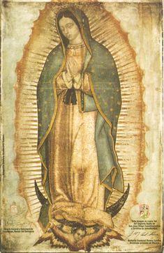Copia fiel de la tilma de Juan Diego, la virgen de Guadalupe...
