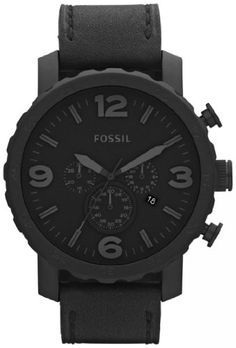 Fossil Nate Chronograph Leather Watch Black $101.78 #Watch #Fossil