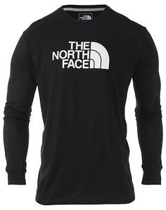 North Face Half Dome Logo Tee Mens CZY9-KY4 Black Long Sleeve T-Shirt Size XL
