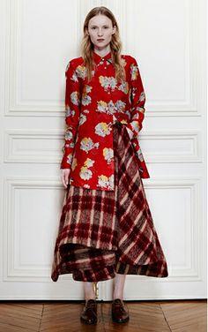 red plaid mohair Brock skirt