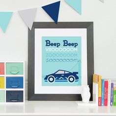 Hey, I found this really awesome Etsy listing at https://www.etsy.com/listing/235006813/racecar-bedroom-art-beep-beep-race-car
