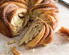 We gave one giant roll a show stopping cinnamon twist. Using granulated sugar in place of brown sugar creates a crispier exterior, while a tender interior.