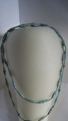 Long Light Blue Upcycled Magazine Paper Bead Necklace - Recycled, The Nyaka AIDS Orphans Project, African, Uganda, Handmade, Jewelry, Non-Profit, Eco Friendly, $20.00