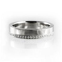 Unique white gold wedding band, double wedding band, diamond wedding band, handmade diamond wedding ring, milgrain wedding band, eternity