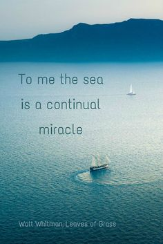 To me the sea is a continual miracle; Walt Whitman, Leaves of Grass