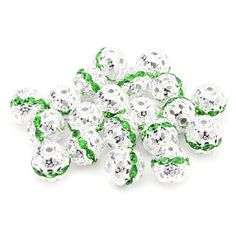 BEADNOVA Crystal Rondelle Ball Shape Spacer Bead Silver Plated Various Color 6mm 8mm 10mm (28.10mm #214 Peridot Green)