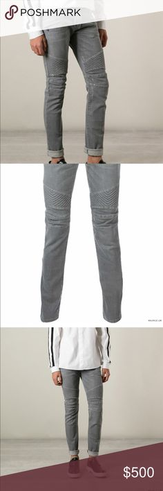 BALMAIN Grey Distressed Stretch Denim Biker Jeans! Balmain Spring Summer 2015 Menswear.                                         Solid Grey, Slight Distressed, Quilted Knee Ribbed.                     Material 98% Cotton 2% Polyurethane.                                                Design in France/Made in Italy.                                                      Only selling because they are a little too big. Balmain Jeans Slim Straight