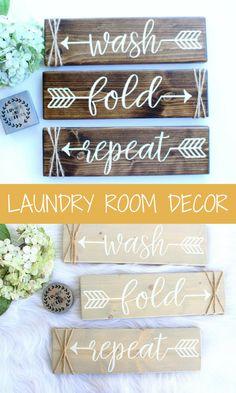Laundry Room Decor - Laundry Room Sign - Wash Fold Repeat - Farmhouse Laundry Room - Rustic Laundry Decor - Laundry Room Signs Wood #homedecor #laundry #affiliate