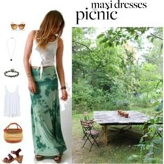 ready for a picnic Love Tanjane long skirt is perfect in sage random dye!