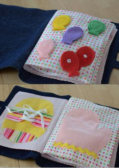 This 12 page hand made quite book is a perfect way for your child to learn and have fun! Each page features a new activity for your child to enjoy.    Match the colors with snaps  Tie the shoe  Buckles  Put on the mitten  Brush the monkey's teeth  Count the Beads (double page)  Tell time  Match the shapes with velcro  Button on the flowers  Braid the ribbons  Zipper Frog (with two baby frogs inside)    There are two handles on the book for easy carrying.