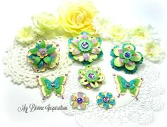 Purple Green and Turquoise Handmade Paper Embellishments and Paper Flowers for Scrapbook Layouts Cards Tags Mini Albums and Paper Crafts by mydivineinspiration on Etsy