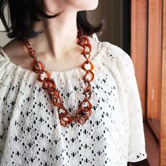 VINTAGE BROWN PLASTIC CHAIN NECKLACE /ヴィンテージネックレス