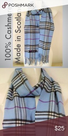 Xx Description 100% Cashmere scarf. 12inx72in long scarf. Super soft and warm. Price Firm.  Unisex Style.   100% cashmere  MADE IN SCOTLAND. Final price. Bundles always 20% off. ❣photos color true. Retails for $75.00‼️‼️ Cashmere Scarves Accessories Scarves & Wraps