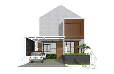 Portfolio – Rekabentuk ID Interior Architecture Drawing, Facade Architecture, Facade Design, Exterior Design, Model House Plan, House Plans, Modern Tropical House, Minimal House Design, Townhouse Designs