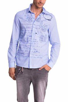 51C12G2_5004 Desigual Shirt Rayas Lettering Canada