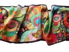 Női selyem sál nonfiguratív mintával, gyönyörű színekben - ideális ajándék nőknek.  http://silkyway.hu/tancolo-habok-salak.html