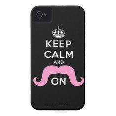 Keep Calm iPhone Cases | Pink Handlebar Mustache! Cute, huh?