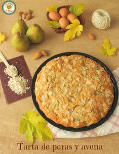 Tarta de peras y avena. Pear and Oat Tart. Healthy Sweets, Healthy Eating, Healthy Recipes, Avena Recipe, My Favorite Food, Favorite Recipes, Pear Tart, Sin Gluten, Cake Recipes