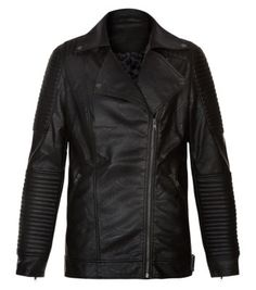 Kelly Brook for New Look -  Black Leather-Look Longline Biker Jacket.