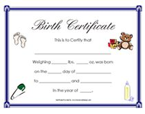 Great for teddy bear and baby doll birth certificates free free newborn baby birth certificates yadclub Images