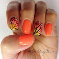 Butterfly gel nail art. I want this for my cruise coming up!!!