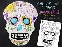 Printable Day of the Dead Sugar Skull coloring sheet (Dia de los Muertos craft)