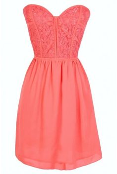 Sweetheart Strapless Dress in Coral from Lily Boutique