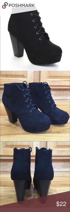 New Black Lace Up Booties Brand new, never been worn black faux suede lace up booties. Super cute, just a little big on me. Forever Shoes Ankle Boots & Booties
