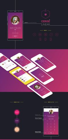 "Echa un vistazo a mi proyecto @Behance: ""Cerise: Linear Android UI"" https://www.behance.net/gallery/59323719/Cerise-Linear-Android-UI"