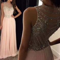 Pearl pink chiffon beaded long cap sleeves evening prom dresses