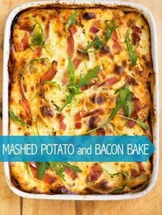 Potato and Bacon Bake Dear me. Mashed Potato and Bacon Bake Amazing scrumptious comfort food.Dear me. Mashed Potato and Bacon Bake Amazing scrumptious comfort food. Fun Baking Recipes, Bacon Recipes, Cooking Recipes, Healthy Recipes, Cooking Pasta, Cooking Ham, Cooking Salmon, Milk Recipes, Cooking School