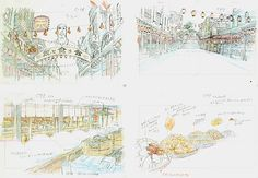 Film: Spirited Away (千と千尋の神隠し) ===== Layout Design - Scene: Discovering Food ===== Hayao Miyazaki