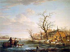 Winter+landscape+at+Drevel+-+Jacob+van+Strij