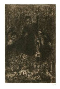 Bohuslav Reynek Don Quijote s prasaty / Don Quijote with the Pigs suchá jehla / dry point 24,6 x 16,1 cm, 1955-56, opus G 409