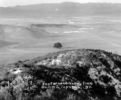 View of San Fernando Valley from Summit, Topanga, circa 1937 postcard :: San Fernando Valley History. - Wow! have to find the location of my house from the 1958-1995.