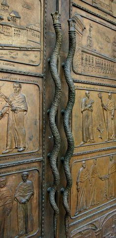 John Meškelevičius (1950-2005) designed the bronze doors in the Library of the University of Vilnius, Lithuania.